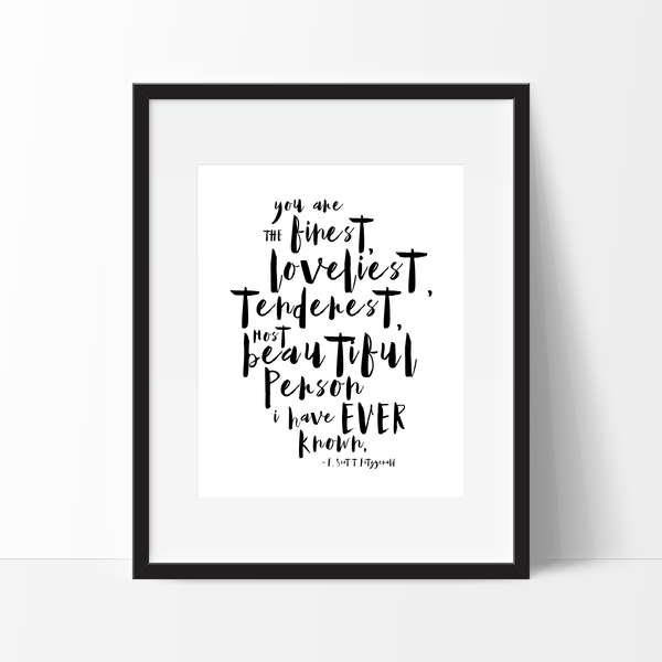 Free Printable Download - Romantic love quote by F. Scott Fitzgerald