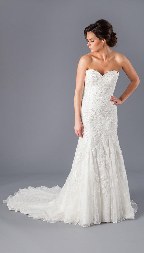 A Strapless Lace Wedding Dress from Kennedy Blue | Affordable Bridal Gowns Under $1500 | Kennedy Blue