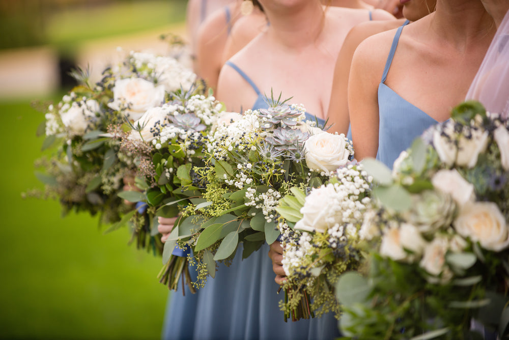 light blue-greenery-bridesmaid-bouquets-Annie-Ryan-Wedding-Kennedy-Blue