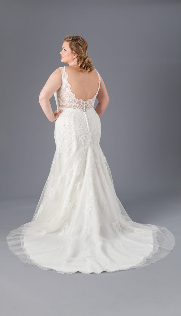 A Lace and Crepe Sheath Bridal Gown from Kennedy Blue | Affordable Bridal Gowns Under $1500 | Kennedy Blue
