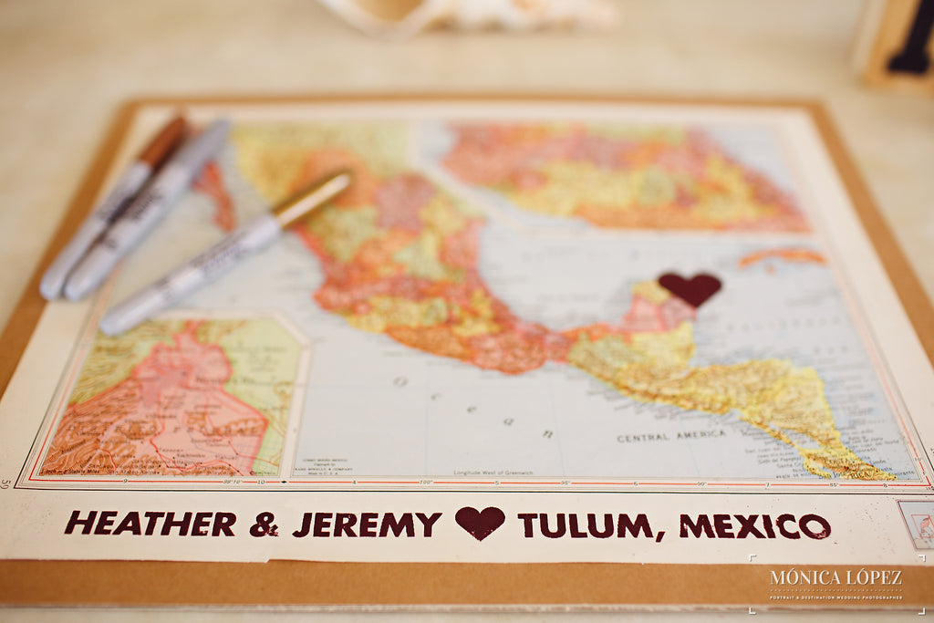 A Map With a Heart Placed in the Destination the Couple Got Married | A One-Of-A-Kind Destination Wedding