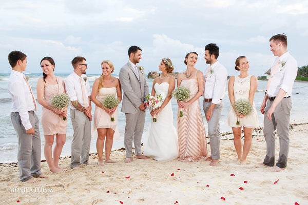 A beautiful destination beach wedding in Mexico featuring Kennedy Blue bridal gown Hailey | Kennedy Blue