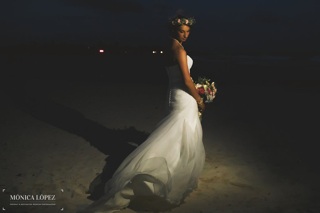 A stunning evening shot of the brides Kennedy Blue wedding dress | A One-Of-A-Kind Destination Wedding