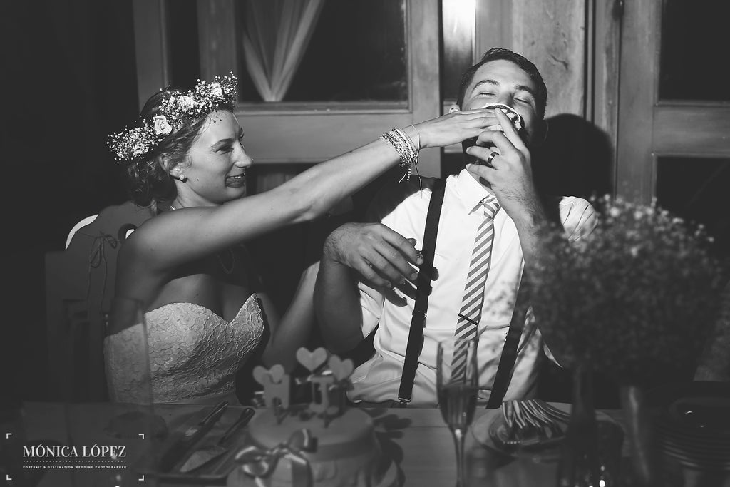 A Super Cute Photo of the Bride and Groom Eating Their Cake | A One-Of-A-Kind Destination Wedding