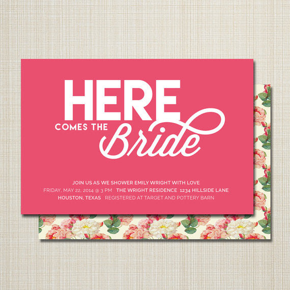 Here Comes The Bride bridal shower invitations are such a cute idea! | 52 Awesome Bridal Shower Ideas | Kennedy Blue | WestWillow