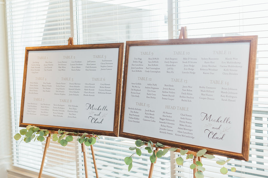 Such a simple and cute seating chart! | A Simple & Stunning Sage Wedding | Kennedy Blue | Rachel Figueroa Photography