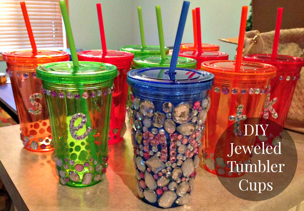 Create DIY jeweled tumbler cups for the perfect bachelorette party favors!