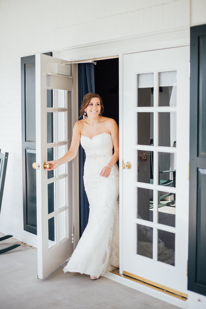 The bride's firt public appearance in her dress! | A Simple & Stunning Sage Wedding | Kennedy Blue | Rachel Figueroa Photography