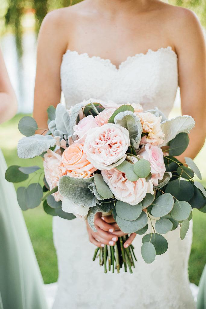 The brides beautiful bouquet! | A Simple & Stunning Sage Wedding | Kennedy Blue | Rachel Figueroa Photography