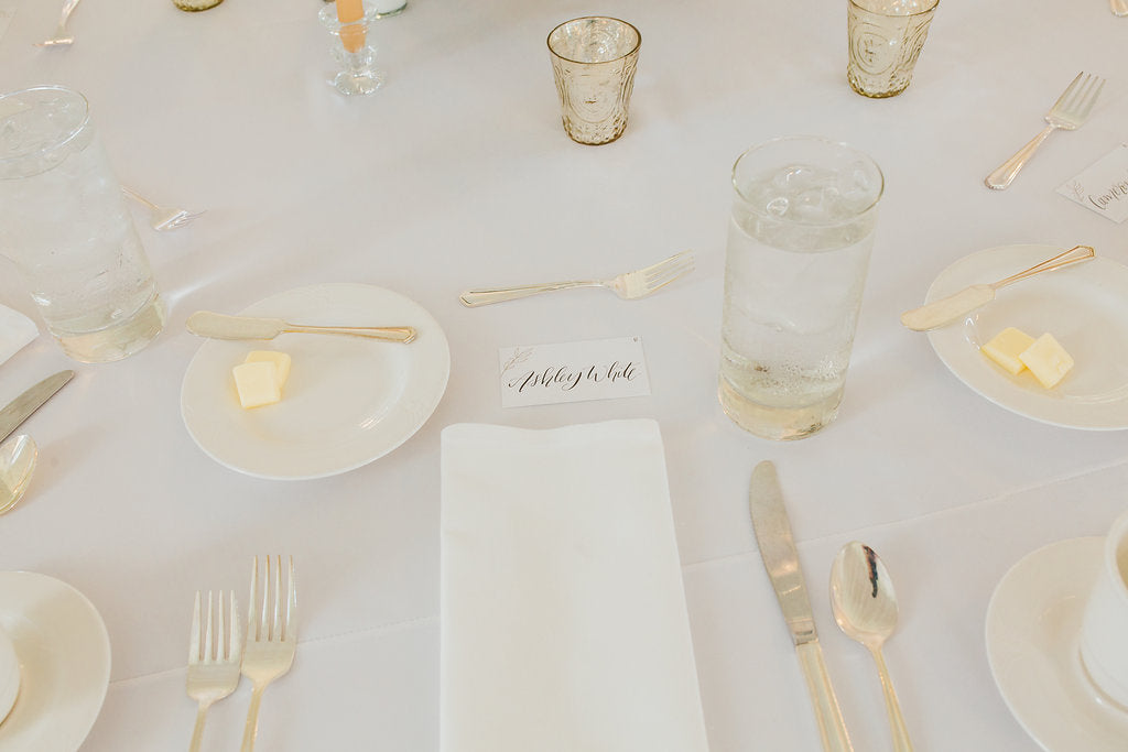 Simple but elegant wedding table set up! | A Simple & Stunning Sage Wedding | Kennedy Blue | Rachel Figueroa Photography