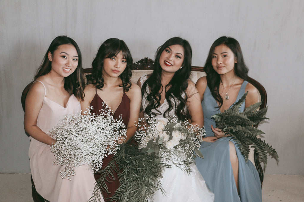 Bridesmaids with Bride before ceremony | Moody Styled Shoot | Kennedy Blue Dresses
