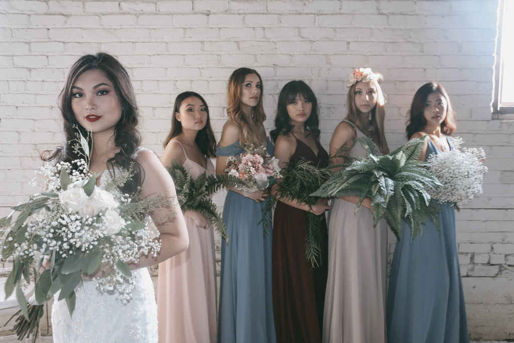 Full Bridal party Shot | Moody Styled Shoot | Kennedy Blue Dresses