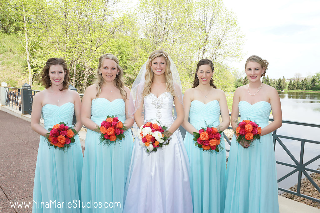Long chiffon mint bridesmaid dresses with red wedding bouquets! | Nina Marie Studios | Kennedy Blue