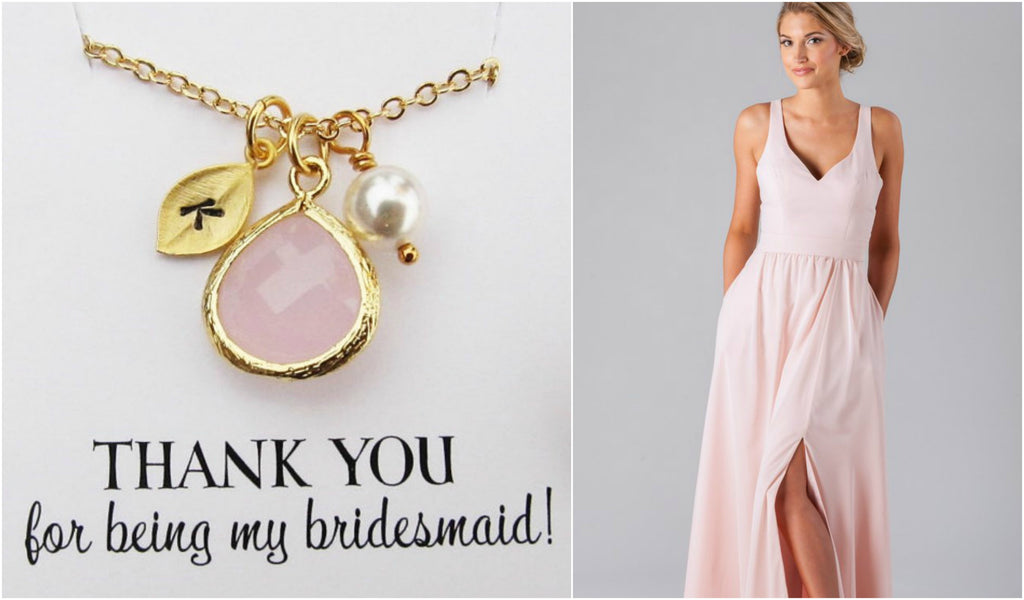 Pendant necklaces are perfect for V-neck bridesmaid dresses! We especially love this personalized bridesmaid gift | Kennedy Blue style Riley is featured in blush pink