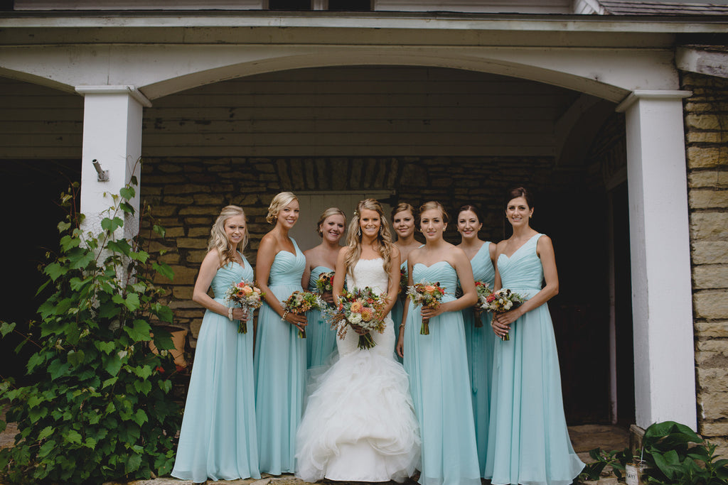 Long chiffon mint blue bridesmaid dresses | Ray + Kelly Photography | Kennedy Blue