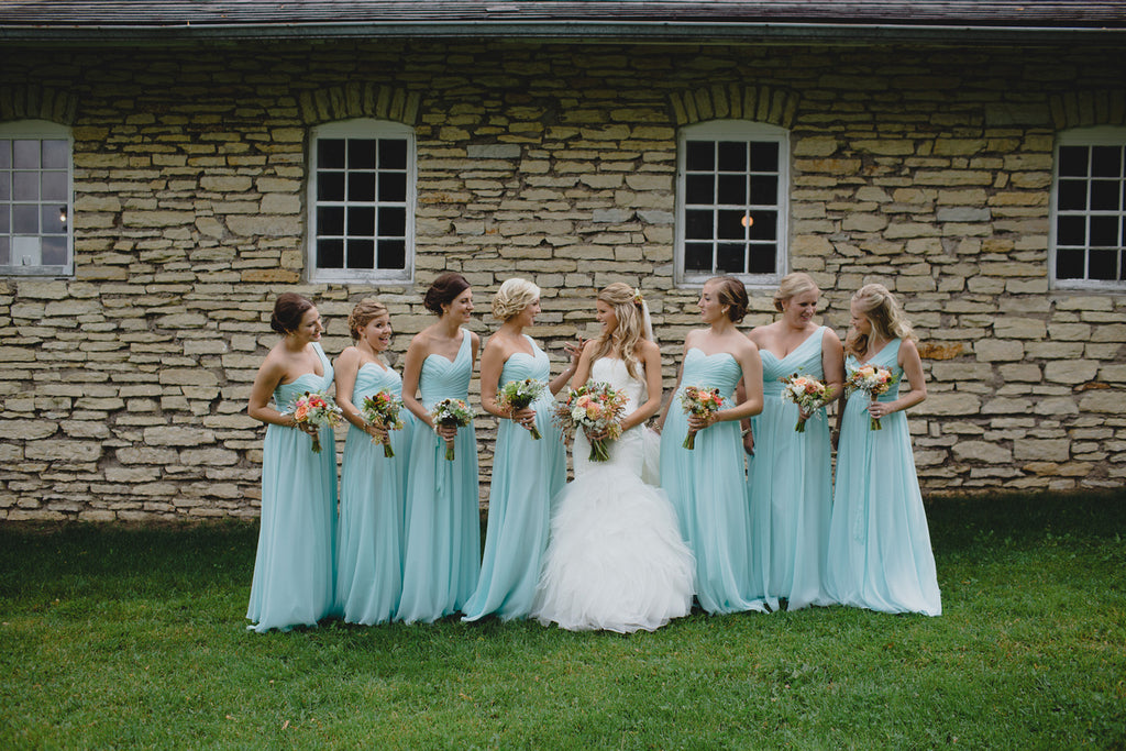 Mint Kennedy Blue Bridesmaid Dresses for a Rustic Wedding | A Barn Wedding So Gorgeous, You Have to See It to Believe It | www.KennedyBlue.com
