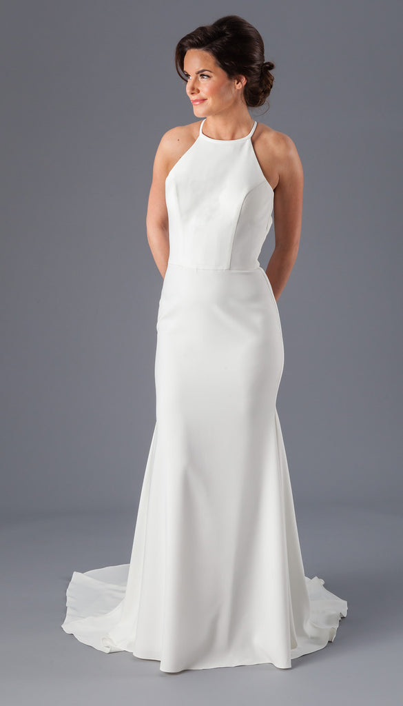 A High-Neck Crepe Fit-n-Flare Wedding Dress with a Keyhole Back from Kennedy Blue | Affordable Bridal Gowns Under $1500 | Kennedy Blue