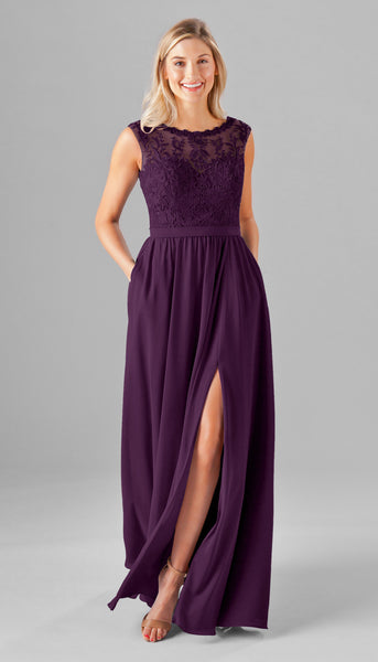 Eggplant purple and embroidered lace, what could be better for your bridesmaids? | Your Ultimate Guide to Fall Weddings | Kennedy Blue bridesmaid dress style Jade featured in eggplant