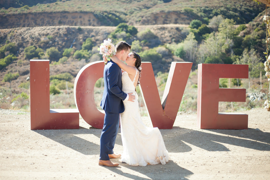 The bride and groom on their big day!  | A Vintage Wedding At Sweet Pea Ranch | Kennedy Blue | Janelle Marina Photography