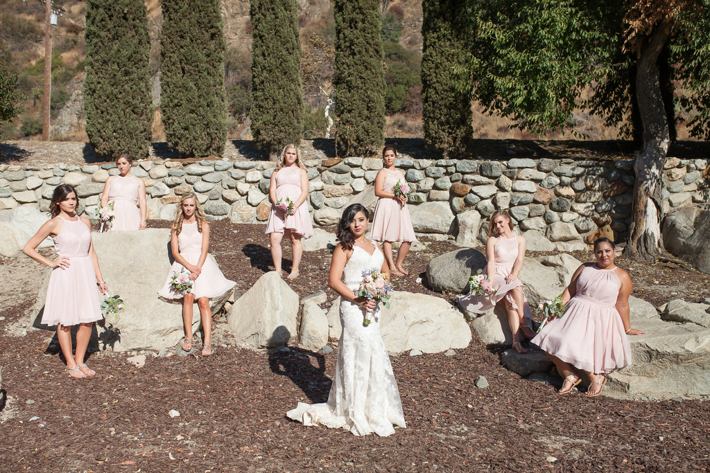 What an flawless bridal party dressed in blush! | A Vintage Wedding At Sweet Pea Ranch | Kennedy Blue | Janelle Marina Photography
