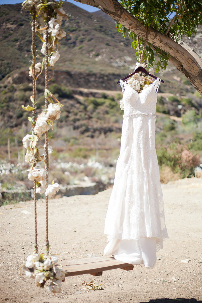 Look at this gorgeous wedding gown! | A Vintage Wedding At Sweet Pea Ranch | Kennedy Blue | Janelle Marina Photography
