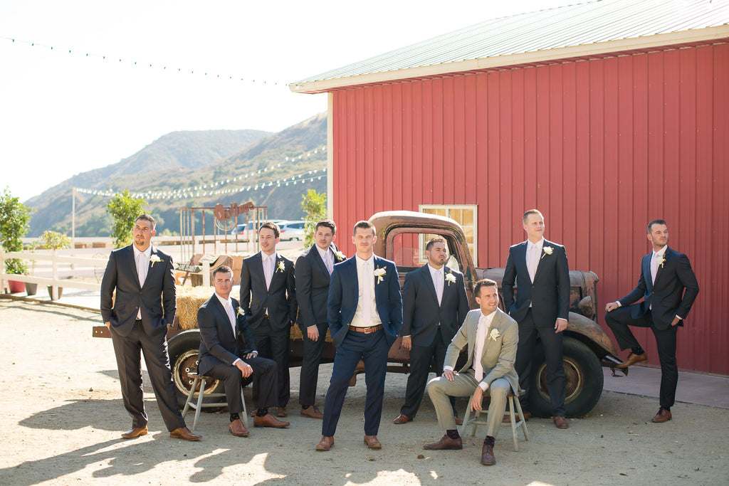 Look at these handsome fellas in navy! | A Vintage Wedding At Sweet Pea Ranch | Kennedy Blue | Janelle Marina Photography