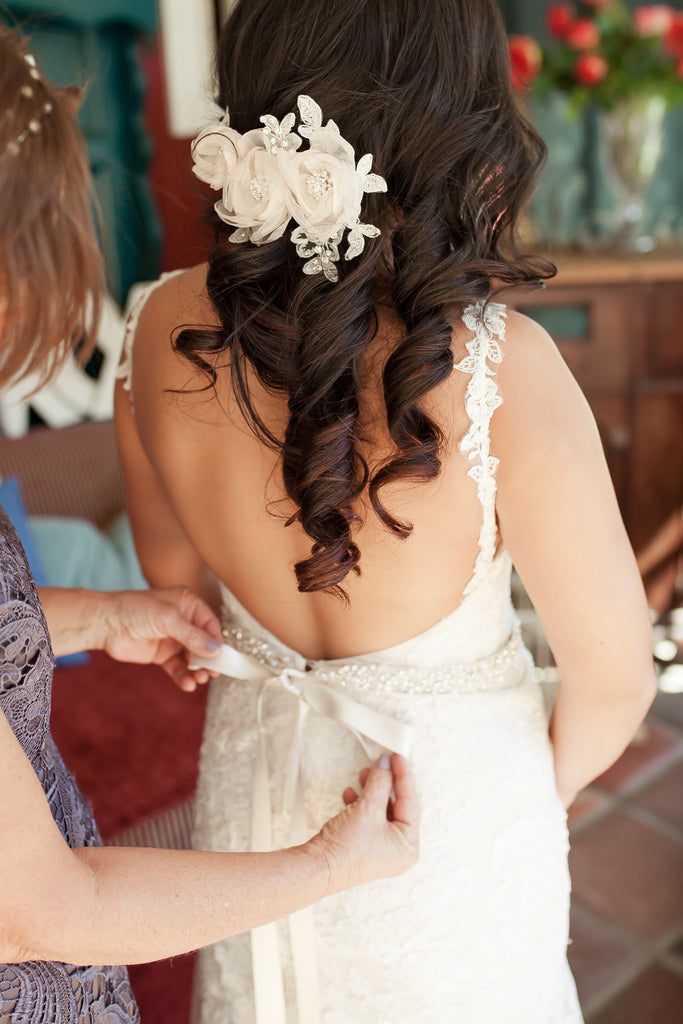 The bride getting her dress on! | A Vintage Wedding At Sweet Pea Ranch | Kennedy Blue | Janelle Marina Photography