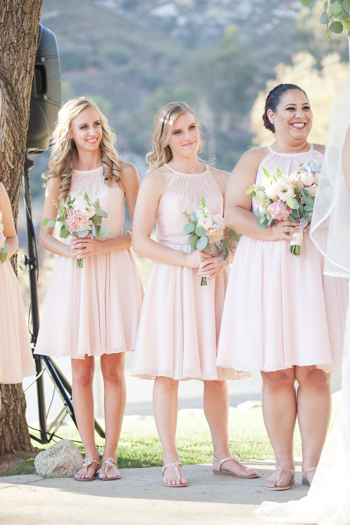 Blush bridal party! | A Vintage Wedding At Sweet Pea Ranch | Kennedy Blue | Janelle Marina Photography
