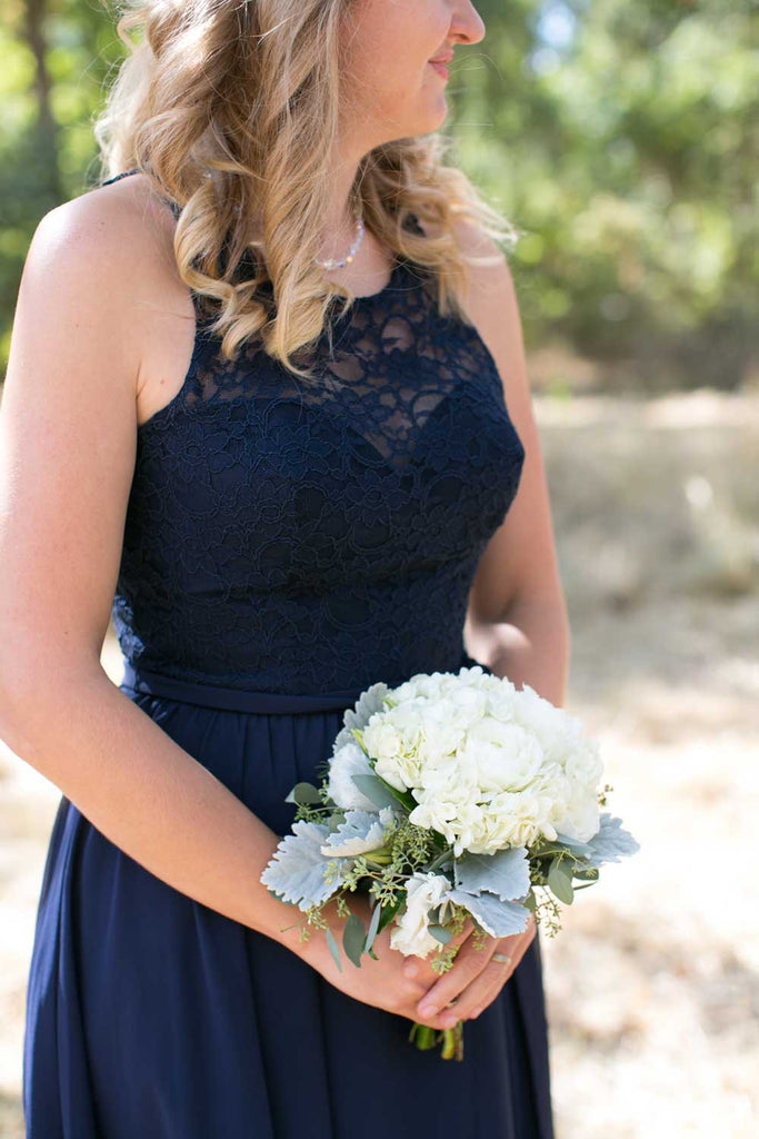 Beautiful white bouquet against navy bridesmaid dress! | Beautiful Navy Bridal Parties | Kennedy Blue | Christy Tyler Photography