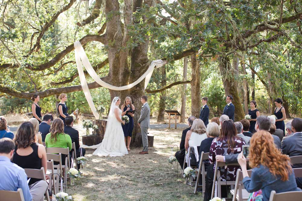A lovely outdoor wedding ceremony.
