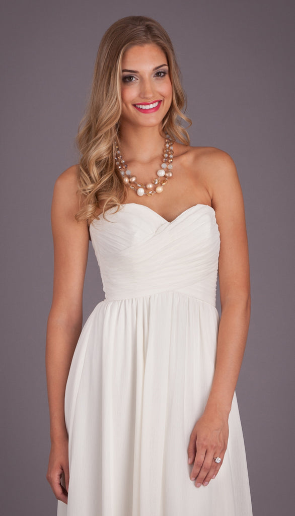 A Simple Strapless Chiffon Wedding Dress | Affordable Bridal Gowns Under $1500 | Kennedy Blue