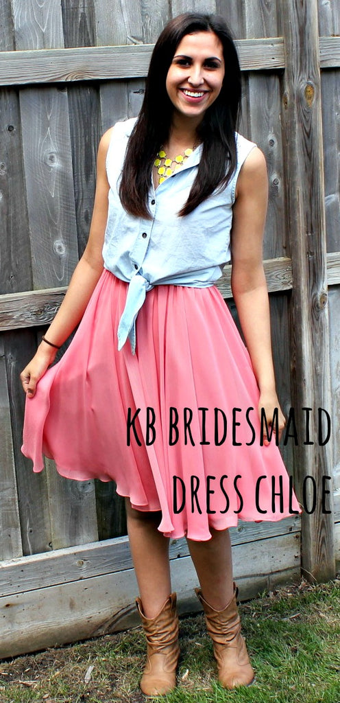 Kennedy Blue bridesmaid dress Chloe restyled with a blue button down and cowboy boots. | www.KennedyBlue.com