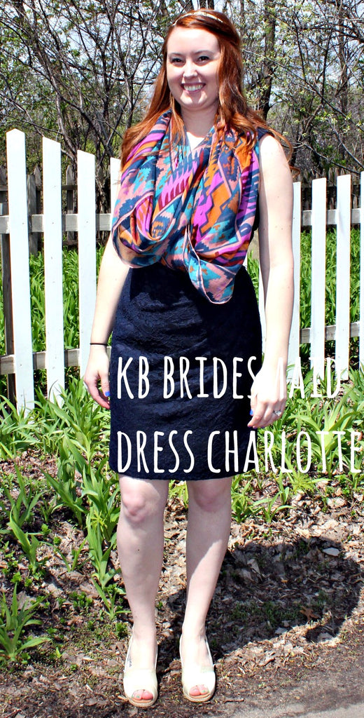 Kennedy Blue bridesmaid dress Charlotte restyled with an aztec-print scarf and TOMS wedges. | www.KennedyBlue.com