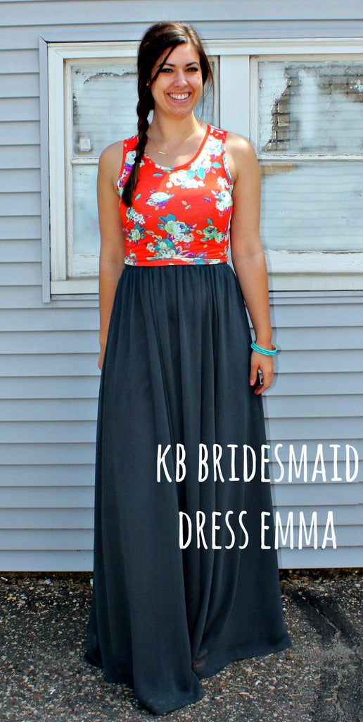 Kennedy Blue bridesmaid dress Emma restyled with a floral crop top. | www.KennedyBlue.com