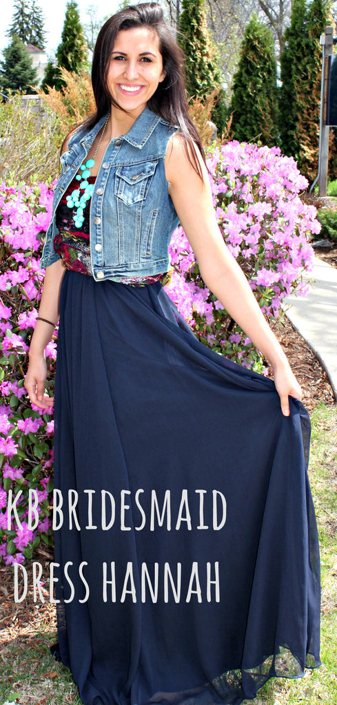 Kennedy Blue bridesmaid dress Hannah restyled with denim vest, colored wrap, and chunky necklace. | www.KennedyBlue.com