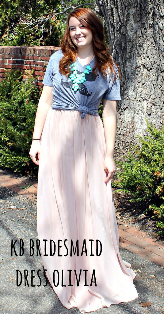 Kennedy Blue bridesmaid dress Olivia restyled with a vintage tee. | www.KennedyBlue.com