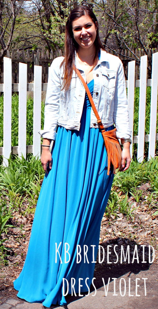 Kennedy Blue bridesmaid dress Violet restyled with a denim jacket and boho shoulder bag. | www.KennedyBlue.com