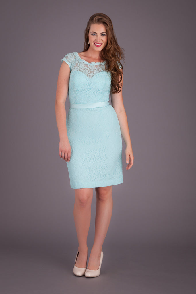 An illusion neckline, short lace bridesmaid dress featured in Mint! | Kennedy Blue Bridesmaid Dress Harper