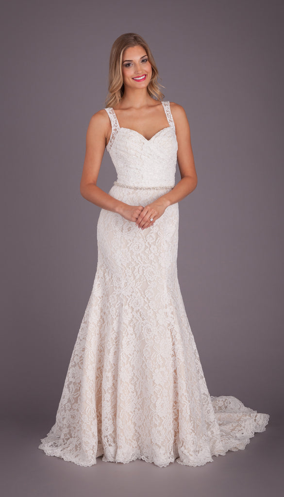A Fit n Flare Lace Bridal Gown with a Keyhole Back | Affordable Bridal Gowns Under $1500 | Kennedy Blue