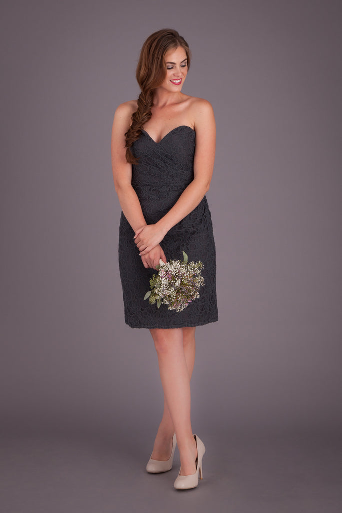 A strapless, short lace bridesmaid dress featured in Charcoal! | Kennedy Blue Bridesmaid Dress Laura