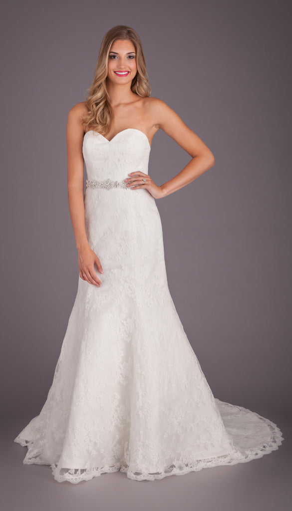 A Strapless All-Lace Fit-n-Flare Wedding Dress | Affordable Bridal Gowns Under $1500 | Kennedy Blue