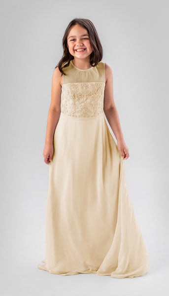 Ensley in Champagne | Chiffon Junior Bridesmaid Dresses