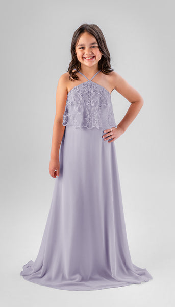 Gretta in Violet | Chiffon Junior Bridesmaid Dresses