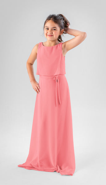 Presley in Canteloupe | Chiffon Junior Bridesmaid Dresses
