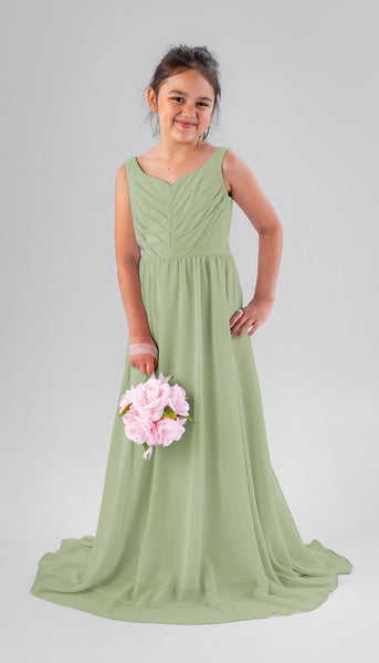 Saylor in Sage | Chiffon Junior Bridesmaid Dresses