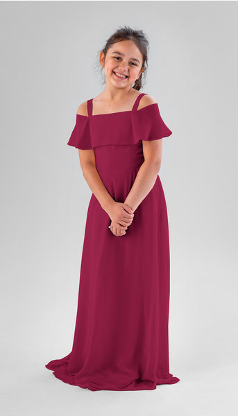 Nica in Claret | Chiffon Junior Bridesmaid Dresses