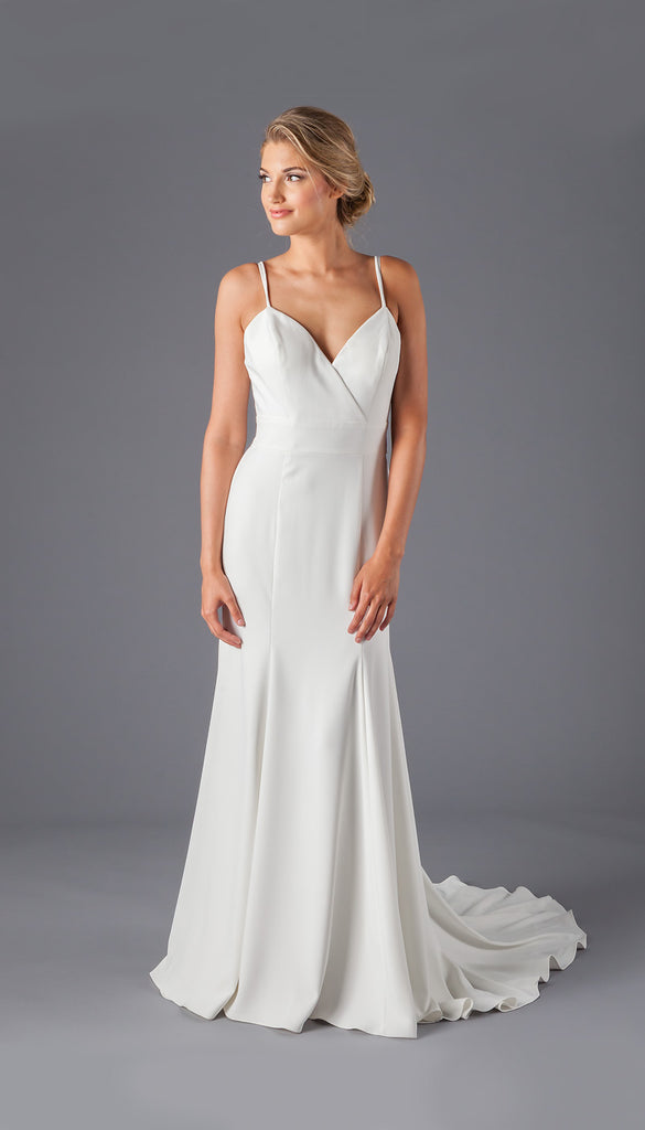 A Crepe Sheath Bridal Gown With a Strappy Back | Affordable Bridal Gowns Under $1500 | Kennedy Blue