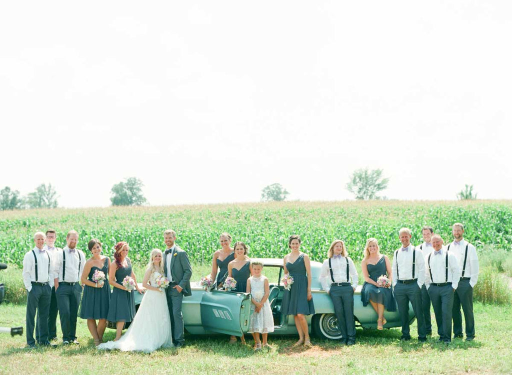 Charcoal gray bridesmaid dresses with gray suits | A Country Chic Wedding With Stunning Vintage Details