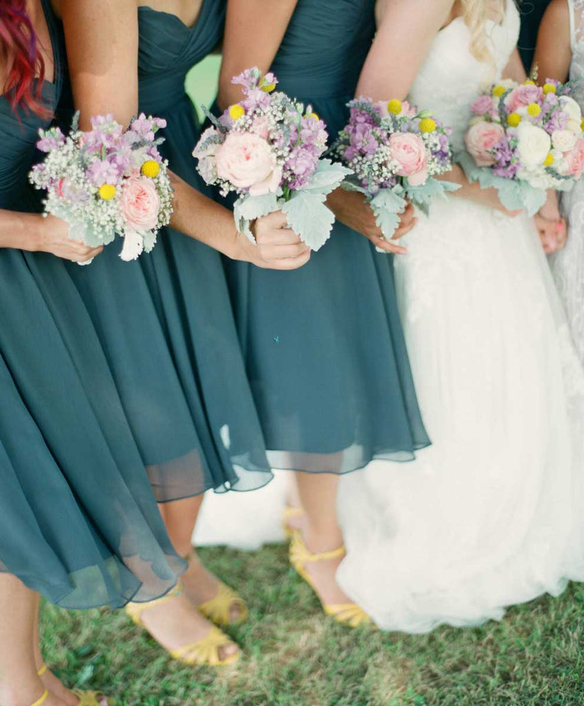 Charcoal gray bridesmaid dresses with yellow accents | A Country Chic Wedding With Stunning Vintage Details