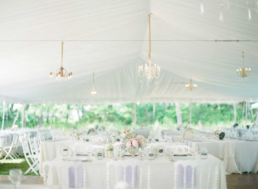 A white tented reception | A Country Chic Wedding With Stunning Vintage Details